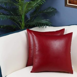 Faux Leather Pack of 2 Throw Pillow Covers Cases